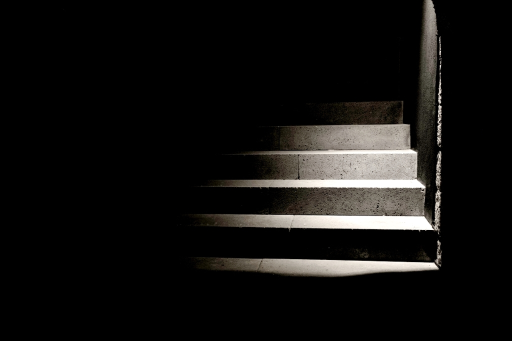 basement stairs in the dark