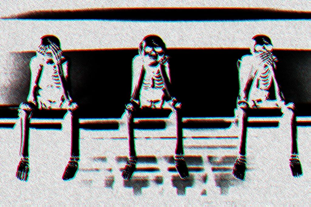 three skeletons sitting on a shelf
