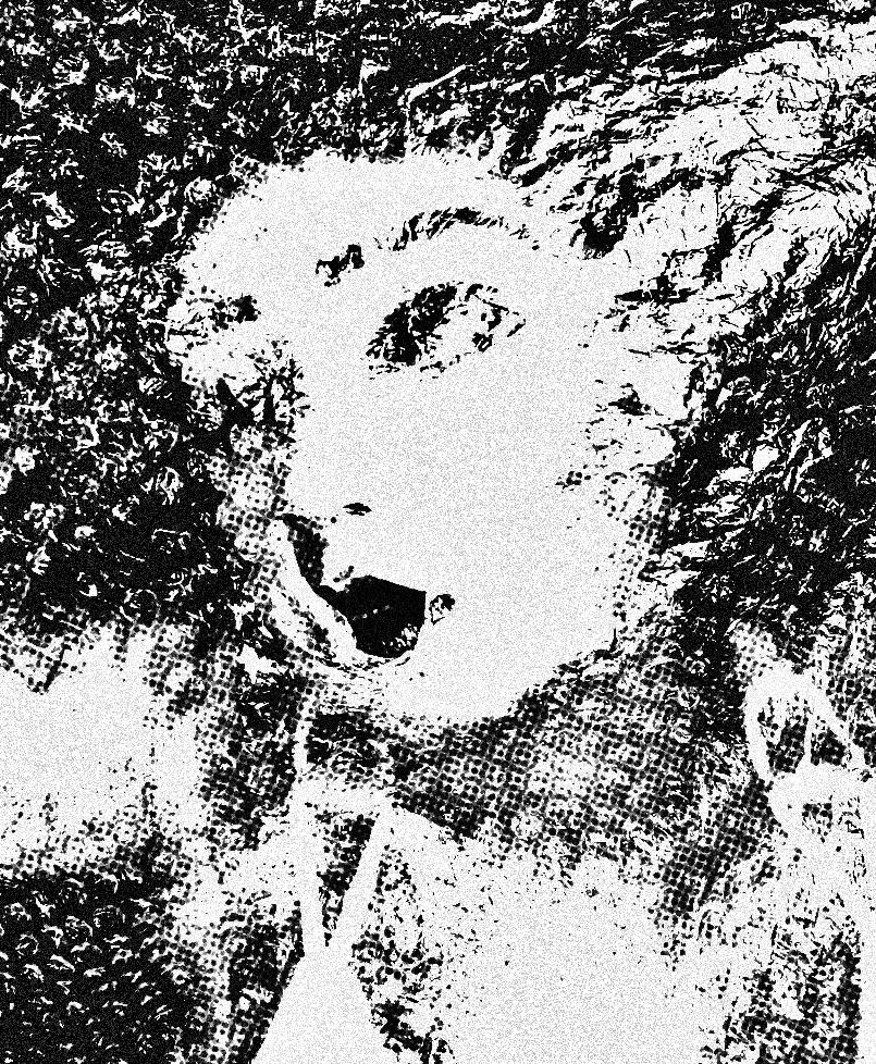 a woman's face black & white