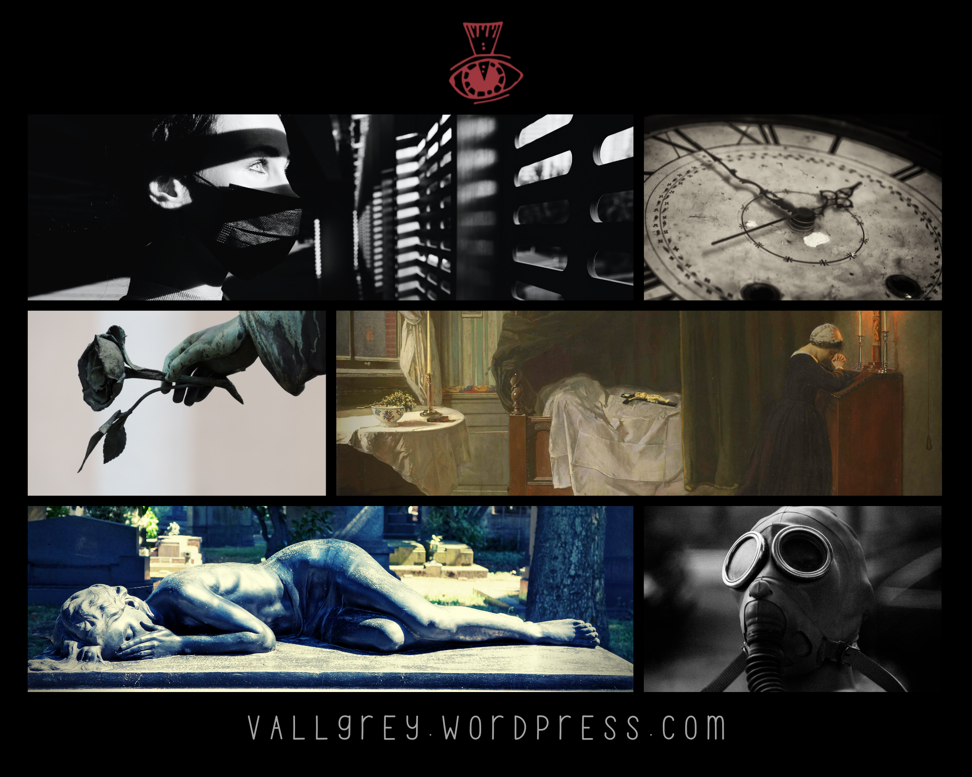 collage or mood board of images about pandemic, time, masks and quarantine.