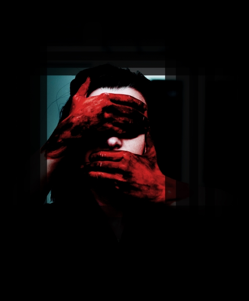 a person gagged by two red hands